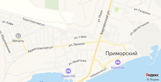 Карта поселка Приморский в Феодосии с улицами, домами и почтовыми отделениями со спутника онлайн