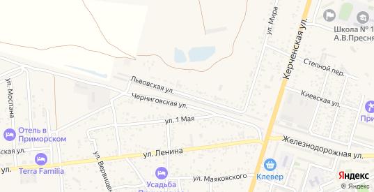 Львовская улица в поселке Приморский в Феодосии с номерами домов на карте. Спутник и схема онлайн