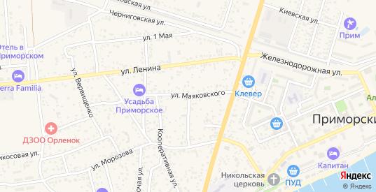 Улица Маяковского в поселке Приморский в Феодосии с номерами домов на карте. Спутник и схема онлайн
