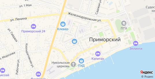 Южная улица в поселке Приморский в Феодосии с номерами домов на карте. Спутник и схема онлайн