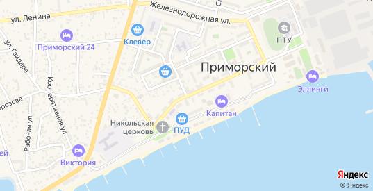 Советская улица в поселке Приморский в Феодосии с номерами домов на карте. Спутник и схема онлайн