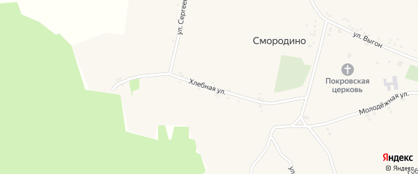 Хлебная улица на карте села Смородино с номерами домов