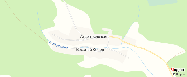Карта Аксентьевской деревни в Вологодской области с улицами и номерами домов