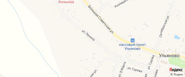 Улица Ленина на карте села Ульяново Калужской области с номерами домов