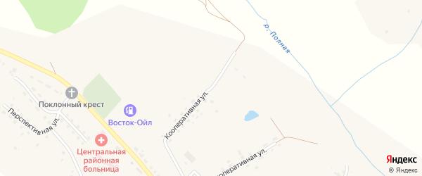 Кооперативная улица на карте села Ульяново Калужской области с номерами домов