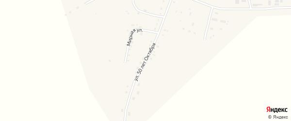Улица 50 лет Октября на карте села Ульяново Калужской области с номерами домов
