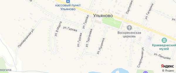 Улица Тургенева на карте села Ульяново Калужской области с номерами домов