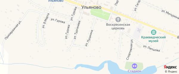 Улица Пушкина на карте села Ульяново Калужской области с номерами домов