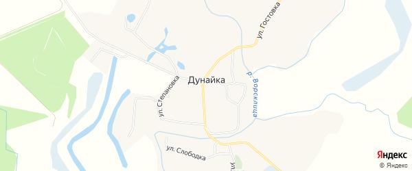 Карта села Дунайки в Белгородской области с улицами и номерами домов