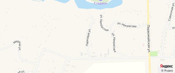 Парковая улица на карте села Ульяново Калужской области с номерами домов