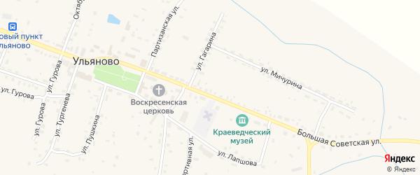 Красноармейская улица на карте села Ульяново Калужской области с номерами домов