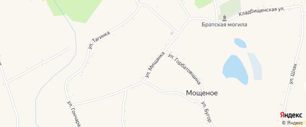 Улица Мищанка на карте Мощеного села Белгородской области с номерами домов