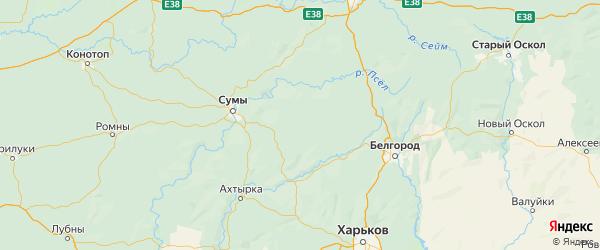 Карта Краснояружского района Белгородской области с городами и населенными пунктами