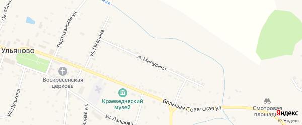 Улица Мичурина на карте села Ульяново Калужской области с номерами домов