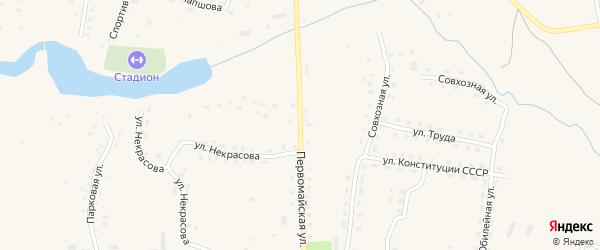 Первомайская улица на карте села Ульяново Калужской области с номерами домов