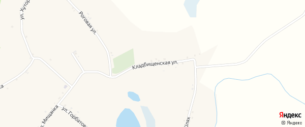 Кладбищенская улица на карте Мощеного села с номерами домов