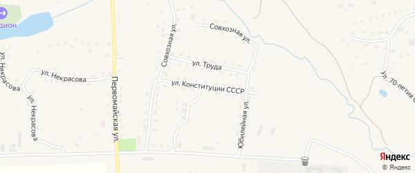 Улица Конституции на карте села Ульяново Калужской области с номерами домов