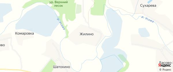 Карта деревни Жилино в Курской области с улицами и номерами домов
