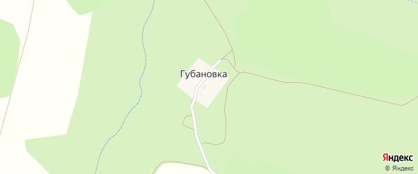 Заречная улица на карте деревни Губановка Калужской области с номерами домов