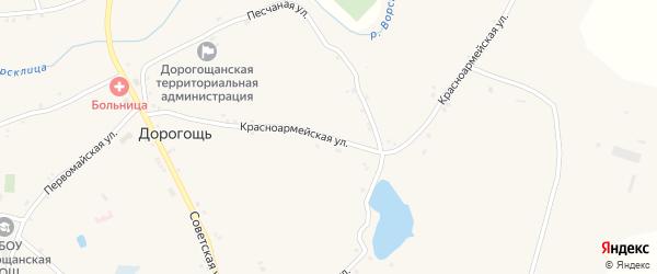 Красноармейская улица на карте села Дорогощи с номерами домов