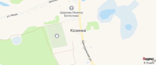 Луговой переулок на карте села Козинки Белгородской области с номерами домов