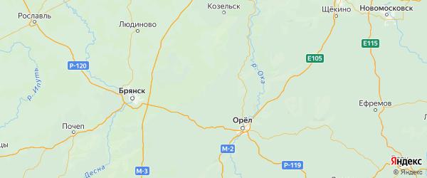 Карта Знаменского района Орловской области с городами и населенными пунктами