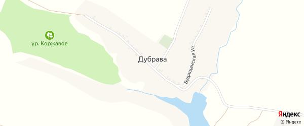 Будищанская улица на карте деревни Дубравы Курской области с номерами домов