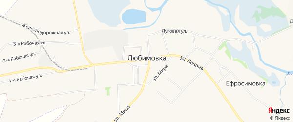 Карта села Любимовки в Курской области с улицами и номерами домов