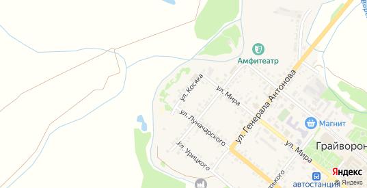 Улица Косяка в Грайвороне с номерами домов на карте. Спутник и схема онлайн
