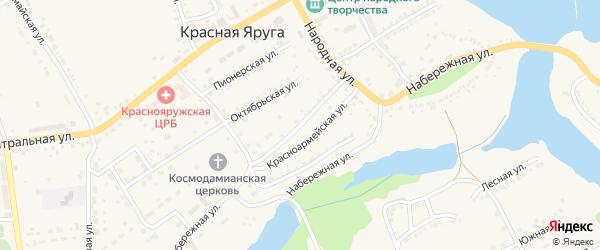 Советская улица на карте поселка Красной Яруги с номерами домов