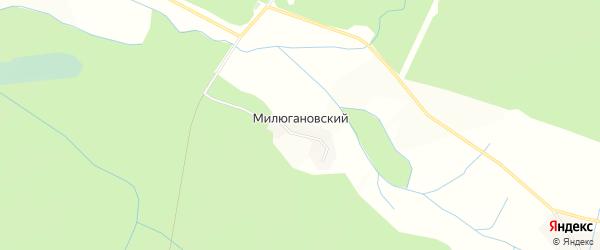 Карта Милюгановский поселка в Калужской области с улицами и номерами домов