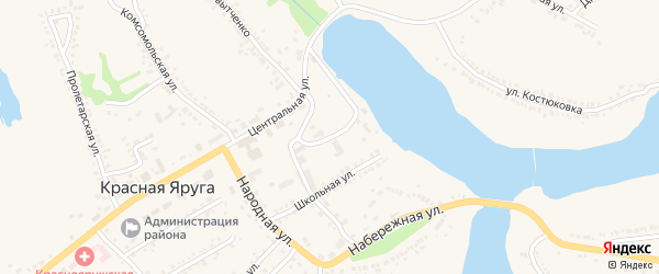 Театральная улица на карте поселка Красной Яруги с номерами домов