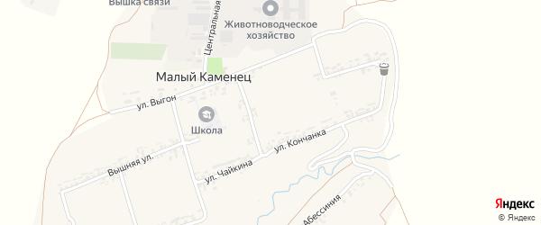 Улица Выгон на карте деревни Малого Каменца Курской области с номерами домов