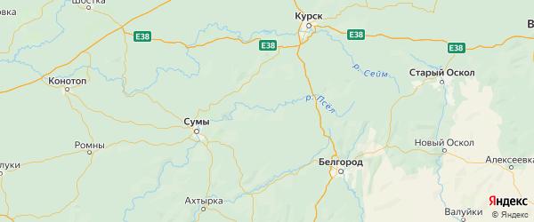 Карта Беловского района Курской области с городами и населенными пунктами