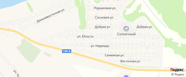 Улица Юности на карте поселка Красной Яруги с номерами домов