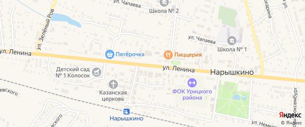 Солнечная улица на карте поселка Нарышкино Орловской области с номерами домов
