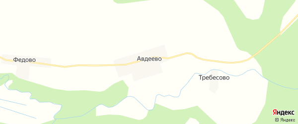 Карта деревни Авдеево в Новгородской области с улицами и номерами домов