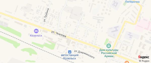 Переулок Циолковского на карте Козельска с номерами домов