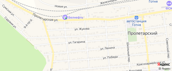 Садовая улица на карте Пролетарского поселка с номерами домов