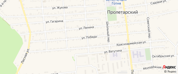 Улица Победы на карте Пролетарского поселка Белгородской области с номерами домов