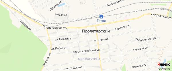 Карта Пролетарского поселка в Белгородской области с улицами и номерами домов