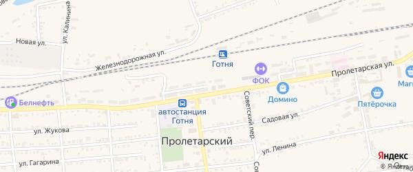 Железнодорожная улица на карте Пролетарского поселка с номерами домов