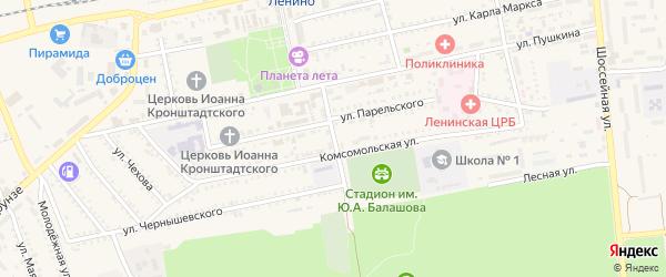 Почтовый переулок на карте поселка Ленино Крыма с номерами домов