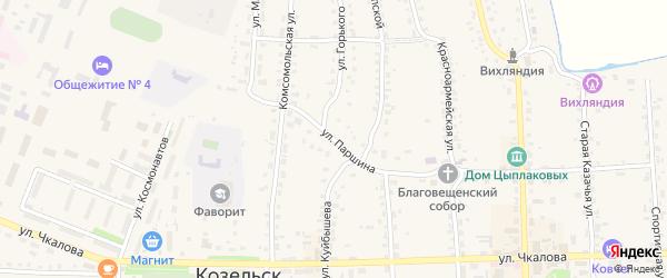 Улица Толстого на карте Козельска с номерами домов