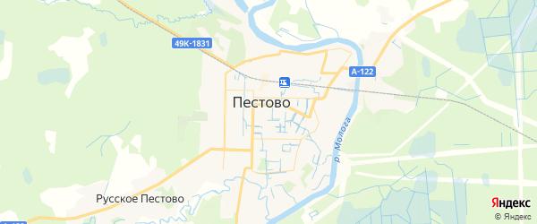 Карта Пестово с районами, улицами и номерами домов: Пестово на карте России