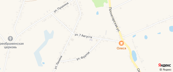 Улица 7 Августа на карте села Головчино Белгородской области с номерами домов