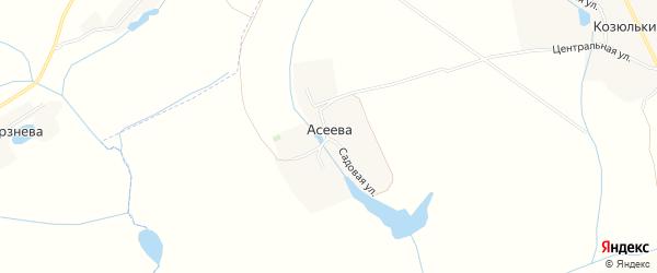 Карта деревни Асеева в Орловской области с улицами и номерами домов