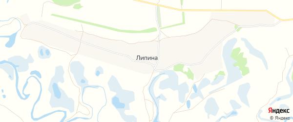Карта деревни Липиной в Курской области с улицами и номерами домов