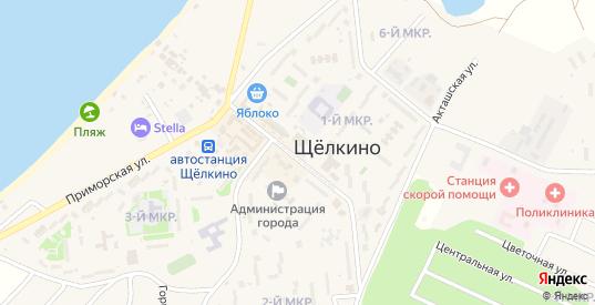 Центральная улица в Щелкино с номерами домов на карте. Спутник и схема онлайн
