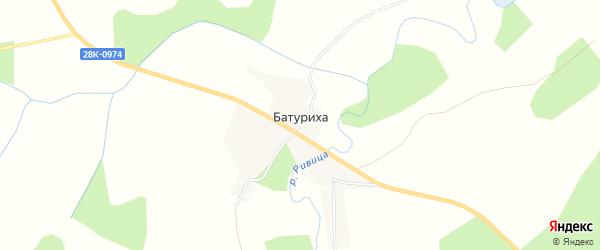 Карта деревни Батуриха в Тверской области с улицами и номерами домов